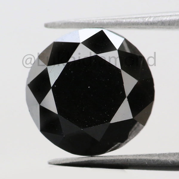 3.76 Ct Natural Loose Diamond Round Black Color 9.30 MM L8487