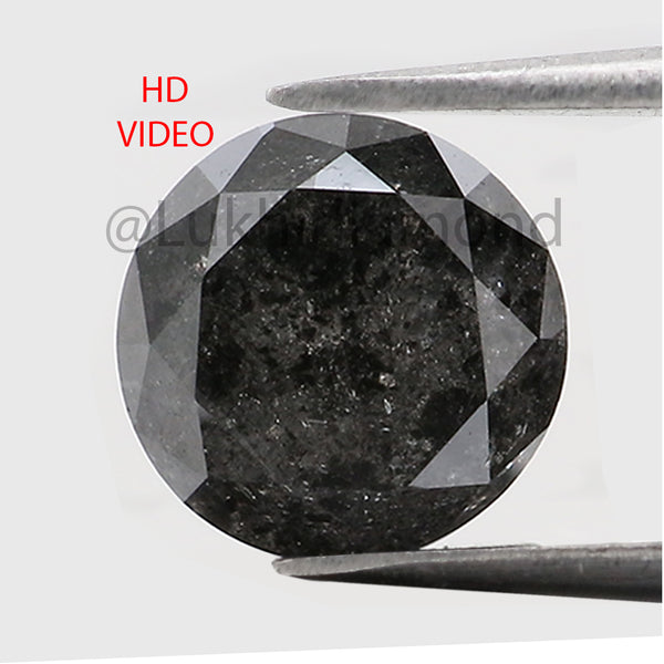 1.47 Ct Natural Loose Diamond Round Black Gray Salt And Pepper Color I3 Clarity 6.80 MM KDL8450