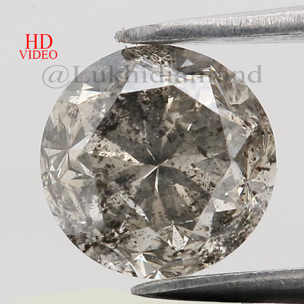 1.57 Ct Natural Loose Diamond Round Gray Salt And Pepper Color I3 Clarity 6.90 MM KDL8546