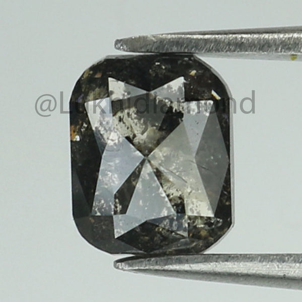 1.04 Ct Natural Loose Diamond Cushion Black Grey Salt And Pepper Color I3 Clarity 6.00 MM L8493