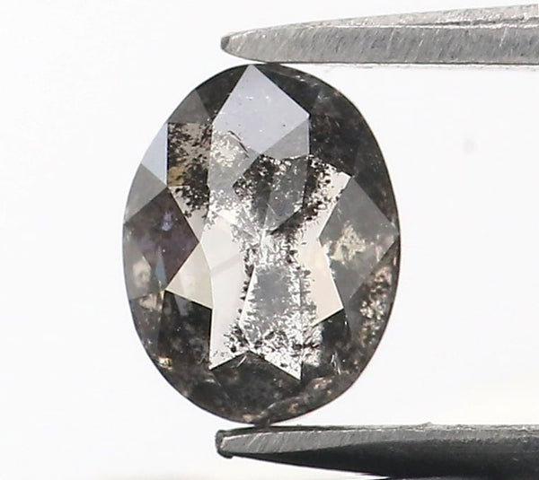 0.39 Ct Natural Loose Diamond Oval Black Grey Salt And Pepper Color I3 Clarity 5.25 MM L8987