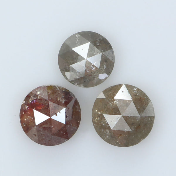 2.55 Ct Natural Loose Diamond Round Rose Cut Grey Brown Color I3 Clarity 3 Pcs L8993