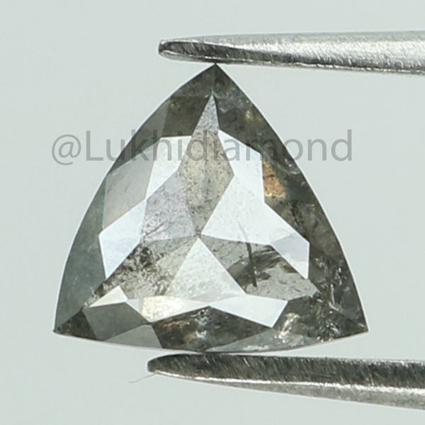 0.78 Ct Natural Loose Diamond Triangle Black Grey Salt And Pepper Color I3 clarity 6.50 MM L8461