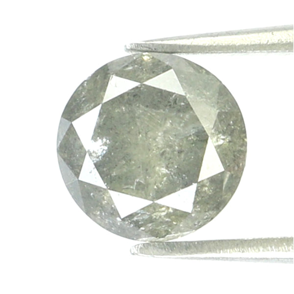 1.49 Ct Natural Loose Diamond Round Black Gray Salt And Pepper Color I3 Clarity 6.60 MM KR2138