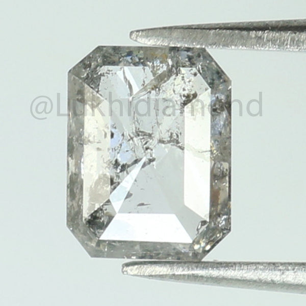 0.74 Ct Natural Loose Diamond Emerald Black Grey Salt And Pepper Color I3 Clarity 6.30 MM L8434