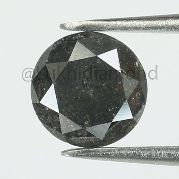 1.32 Ct Natural Loose Diamond Round Black Grey Color I3 clarity 6.70 MM L8413