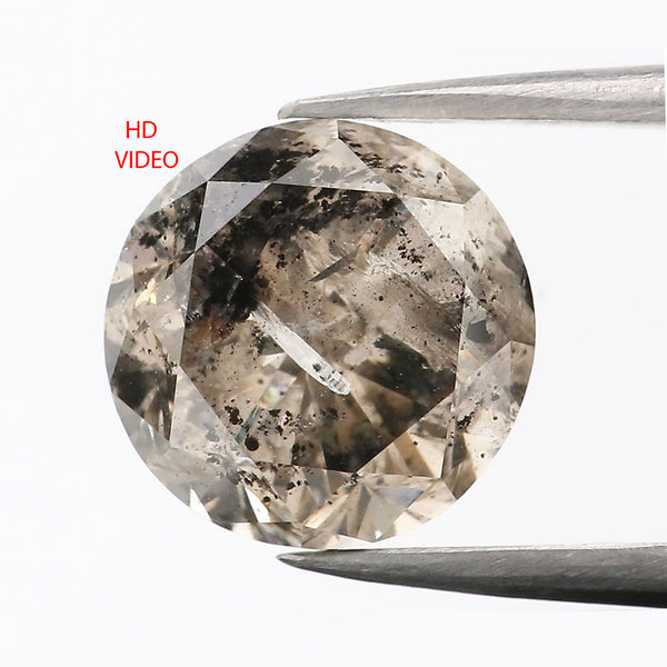 2.30 CT Natural Loose Diamond Round Brown Salt And Pepper Color 8.05 MM L9054