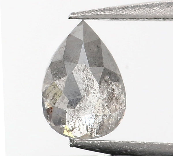 0.58 Ct Natural Loose Diamond Pear Grey Salt And Pepper Color I3 Clarity 6.35 MM GRL8990