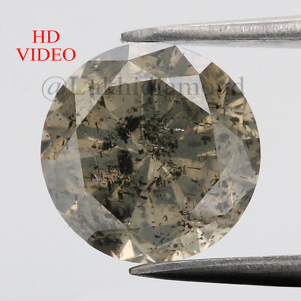 2.43 Ct Natural Loose Diamond Round Yellow Green Salt And Pepper Color I3 Clarity 8.20 MM KDL8553