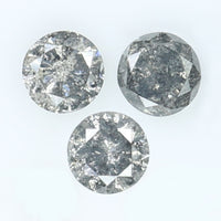 0.65 CT Natural Loose Diamond Round Black Gray Salt And Pepper Color I3 Clarity 3 Pcs L9080