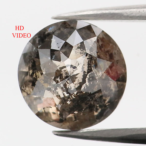 1.60 CT Natural Loose Diamond Round Rose Cut Brown Salt And Pepper Color 7.05 MM KDL9058