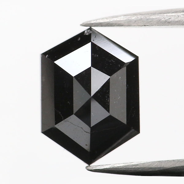 1.26 CT Natural Loose Diamond Hexagon Black Color 7.95 MM L9083