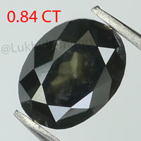 0.84 Ct Natural Loose Diamond Oval Black Color I3 Clarity 6.30 MM L8355