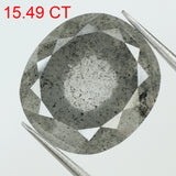 15.49 Ct Natural Loose Diamond Oval Black Grey Salt And Pepper Color I3 Clarity 16.20 MM KDL8312