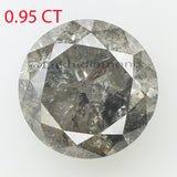 0.95 Ct Natural Loose Diamond Round Black Grey Salt And Pepper Color I3 Clarity 5.90 MM  KR2095