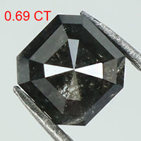 0.69 Ct Natural Loose Diamond Radiant Black Grey Color I3 Clarity 4.85 MM L8147