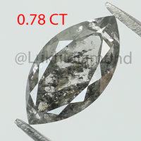 0.78 Ct Natural Loose Diamond Marquise Black Grey Salt And Pepper Color I3 Clarity 8.80 MM L8464