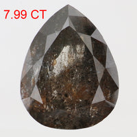 7.99 Ct Natural Loose Diamond Pear Black Grey Salt And Pepper Color I3 Clarity 13.65 MM KDL8111