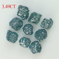 3.49 CT Natural Loose Diamond Rough Blue Color I3 Clarity 9 Pcs L8736