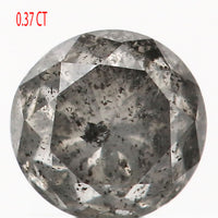 0.37 CT Natural Loose Diamond Round Black Gray Salt And Pepper Color I3 Clarity 4.10 MM L9085