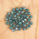 Natural Loose Diamond Round Bead Blue I3 Clarity 1.60 to 3.50 MM 5 Pcs Lot Q50