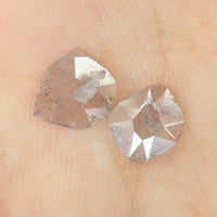 0.73 Ct Natural Loose Diamond Slice light pink Color I3 Clarity 2 Pcs L8431