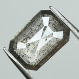 0.92 Ct Natural Loose Diamond Emerald Black Grey Salt And Pepper Color I3 Clarity 7.30 MM KDL8200