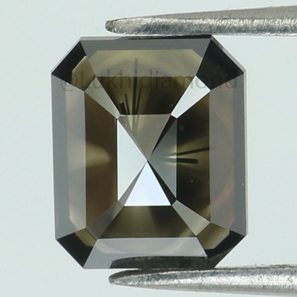 1.63 Ct Natural Loose Diamond Emerald Black Color I3 Clarity 7.80 MM L8372