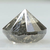 1.51 Ct Natural Loose Diamond Round Black Grey Salt And Pepper Color I3 Clarity 6.60 MM L8399
