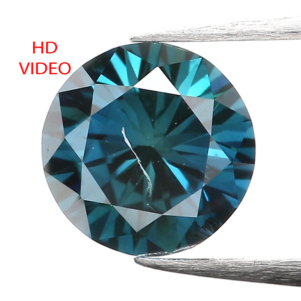 0.42 Ct Natural Loose Diamond, Blue Diamond, Round Diamond, Round Brilliant Cut Diamond, Sparkling Diamond, Rustic Diamond L001