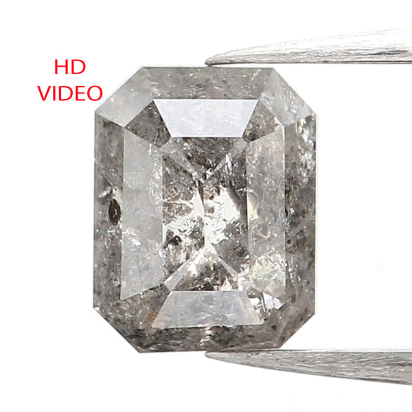 0.89 CT Emerald Cut Diamond, Salt And Pepper Diamond, Natural Loose Diamond, Black Diamond, Grey Diamond, Antique Rose Cut Diamond L020
