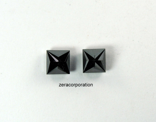 Princess Natural Loose Diamond  Black Color 2 Pcs 2.00 Ct Q33