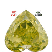 GIA CERTIFIED Natural Loose Diamond Vivid Greenish Yellow Color Heart VS2 Clarity 0.30 Ct L6890 Bkk