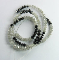 Natural Loose Diamond Bead Shape Black White Color 8.00 inches 9.48 Ct Q66