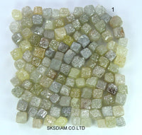 Natural Loose Diamond Undrilled Uncut Rough Cube Shape Yellow Grey Color I3 Clarity 2.00 to 4.00 MM 1.00 Ct Lot Q126