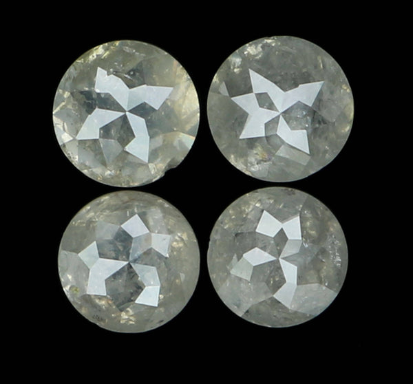 Natural Loose Diamond Round Rose Cut Grey Color I3 Clarity 4 Pcs 0.97 Ct L6329