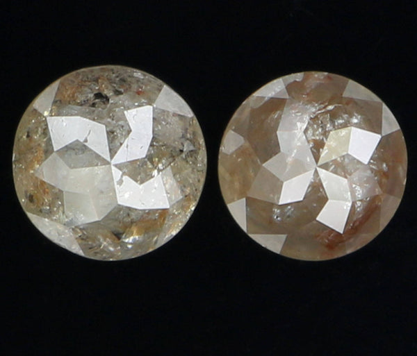 Natural Loose Diamond Round Rose Cut Grey Brown Color I3 Clarity 2 Pcs 0.82 Ct L6346