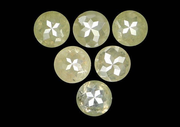 Natural Loose Diamond Round Rose Cut Grey Green Color I3 Clarity 6 Pcs 0.91 Ct KR1318