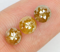 Natural Loose Diamond Round Rose Cut Yellow Coffee Color I3 Clarity 3 Pcs 1.94 Ct L6528
