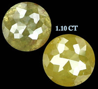 Natural Loose Diamond Round Rose Cut Yellow Color I3 Clarity 2 Pcs 1.10 Ct L6527