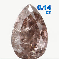 Natural Loose Diamond Pear Brown Pink Color I2 Clarity 4.10 MM 0.14 Ct L6479