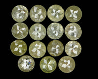 Natural Loose Diamond Round Rose Cut Greenish Grey Color I3 Clarity 15 Pcs 1.55 Ct L5182