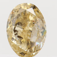 Natural Loose Diamond Oval Orange Yellow Color I1 Clarity 4.40 MM 0.26 Ct KR797