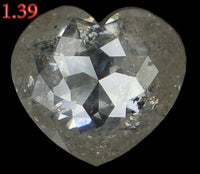 1.39 Ct Natural Loose Diamond Heart Gray Color I1 Clarity 7.70 MM L6196
