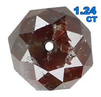 Natural Loose Diamond Round Bead Brown Color I3 Clarity 1.24 Ct 6.00X4.00 MM KR866