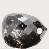 Natural Loose Diamond Drop Black Grey Salt And Pepper Color I1 Clarity 4.60 MM 0.56 Ct L5679