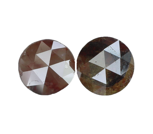 Natural Loose Diamond Round Rose Cut Brown Color I3 Clarity 2 Pcs 1.66 Ct L6348