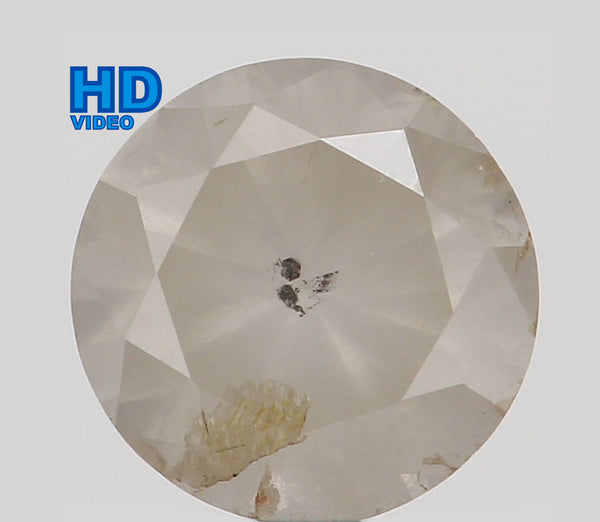 Natural Loose Diamond Round Grey Milky Color I1 Clarity 4.40 MM 0.38 Ct L6369