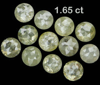 Natural Loose Diamond Round Rose Cut Green Grey Color I3 Clarity 12 Pcs 1.65 Ct KR950