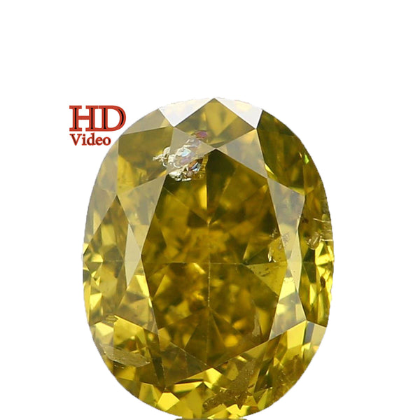 Natural Loose Diamond Oval Yellow Greenish Color SI2 Clarity 4.50 MM 0.73 Ct KDL6455